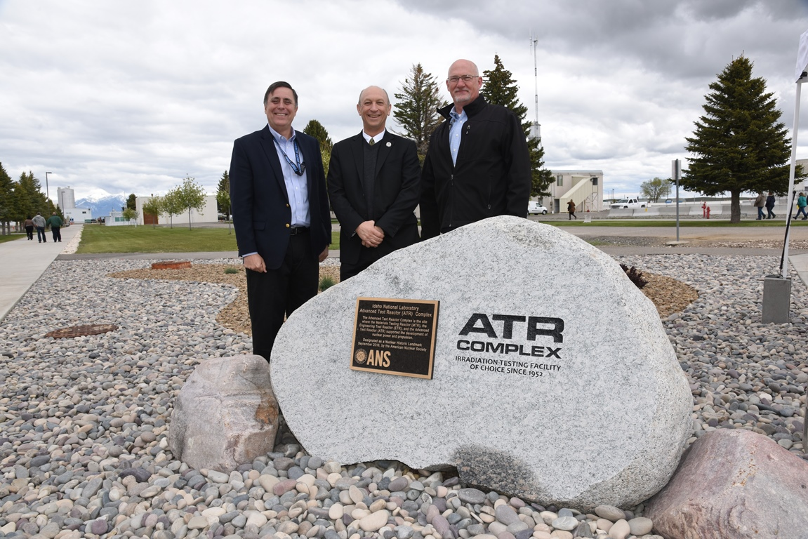 On May 18, INL Laboratory Director Mark Peters (left), ANS President Andy Klein (center) and Advanced Test Reactor Associate Laboratory Director Sean O'Kelly (right) unveiled the Nuclear Historic Landmark plaque.